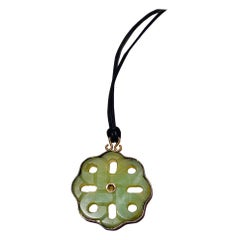 Jade Gold-Plated Burnished Sterling Silver Pendant Cloth Necklace Unique Piece