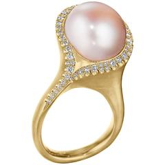 Naomi Sarna Pink Pearl Diamond Gold Ring