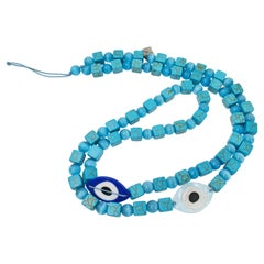 Turquoise Square Howlite and Blue Cat Eye Beads Strap with 2 Charms