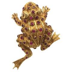 18 Karat Yellow Gold Ruby Diamond Frog Pin Brooch by Meister