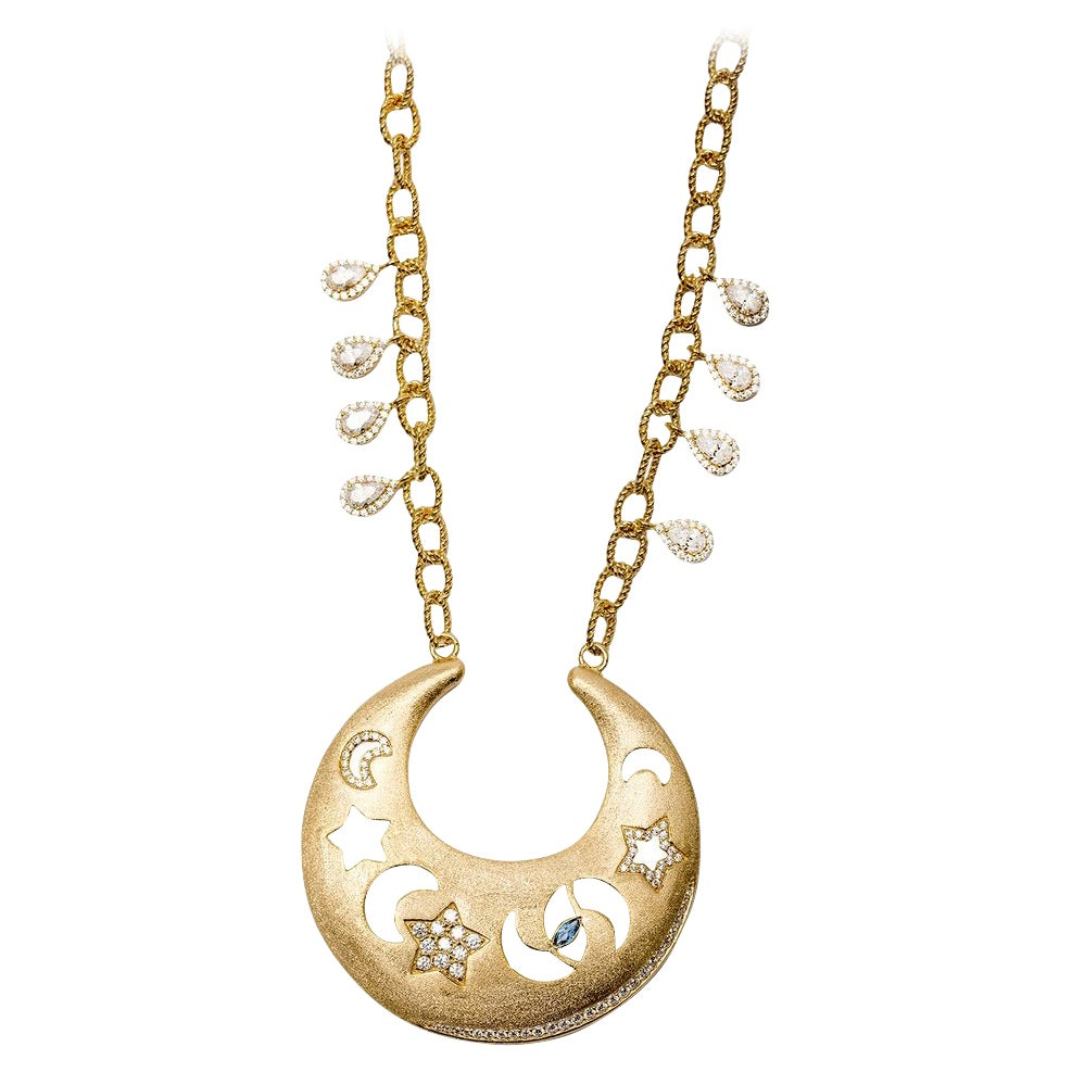 Ammanii Moons, Stars and Evil Eye Necklace in Vermeil Gold with Blue Topaz