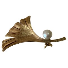 14ct Gold Pearl Brooch by Mikimoto