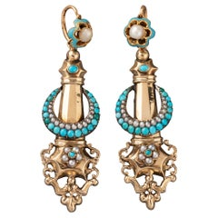 Antique French 1830's Earrings, Gold and Turquoises