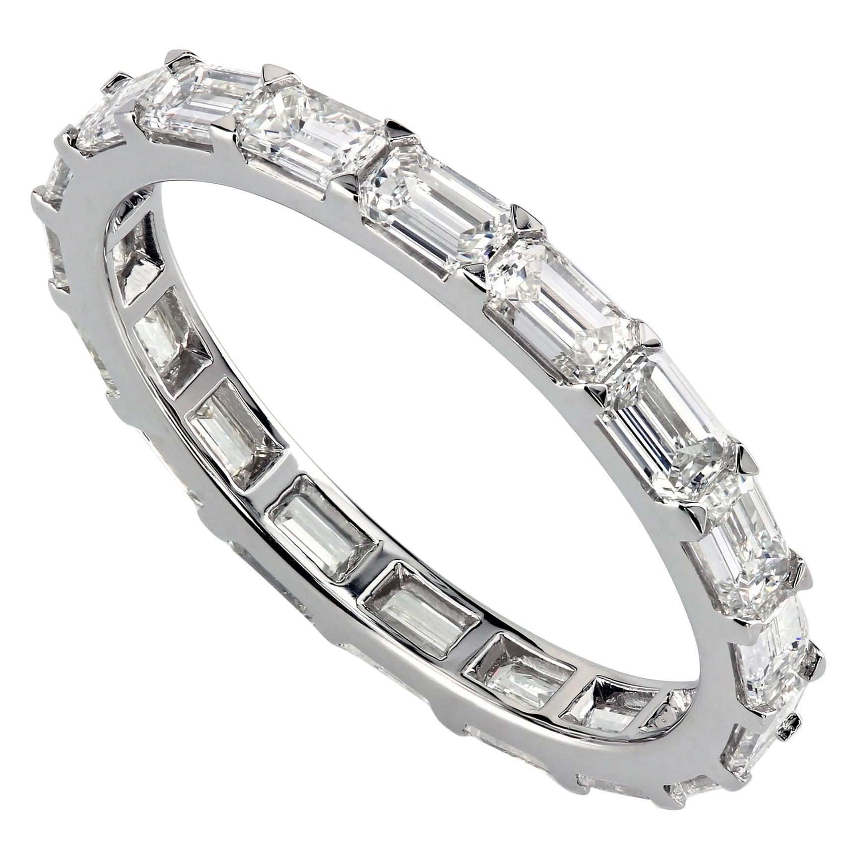 Leon Mege Eternity Diamond Band East-West Set Emerald Cut Diamonds in Platinum