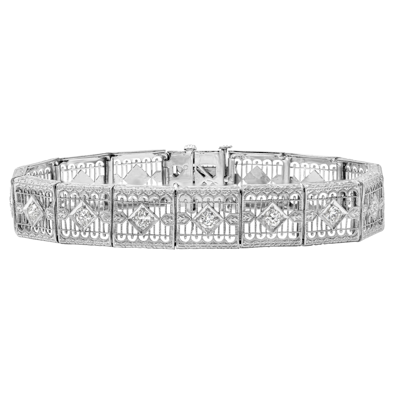 Antique Open-Work Old European Diamond Bracelet