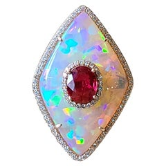 Set in 18K Gold, Natural Ethiopian Opal, Ruby & Diamonds Cocktail Ring