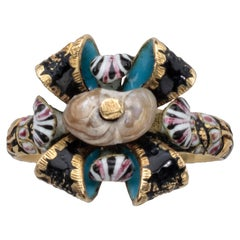 Antique Gold Bow Ring with Pearl and Enamel
