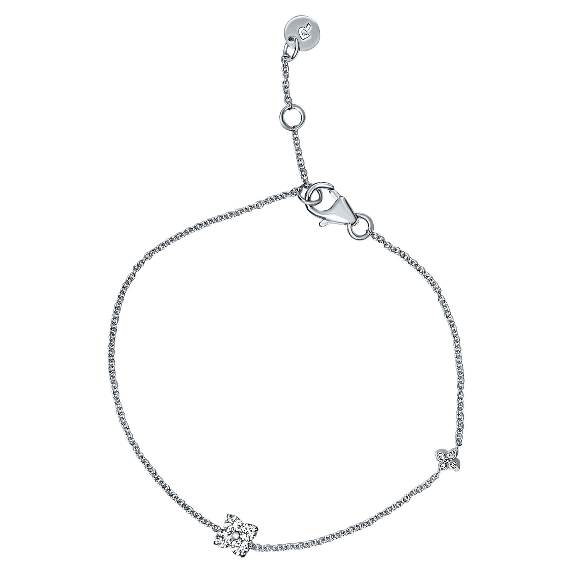 0.24 Carat Diamond Flower Petal Bracelet in 14 Karat White Gold, Shlomit Rogel