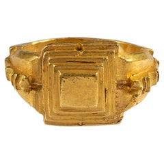 Roman Gold Ring with Stepped Bezel