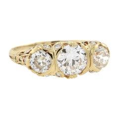 Edwardian 14kt and Diamond 3-Stone Ring