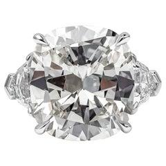 GIA Certified 10.26 Carat Cushion Cut Diamond Three-Stone Engagement Ring