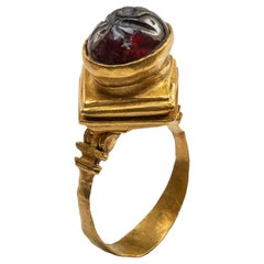 Gold Hellenistic Ring with Garnet Intaglio
