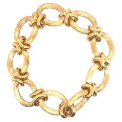 Gold Texture Link Satin Gold Bracelet 18K