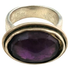 Bili Sterling Silver Checkerboard Faceted Amethyst Ring