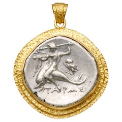 Ancient Greek 3rd Century BC Dolphin Coin 18K Gold Pendant