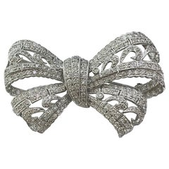 Ornate Diamond Bow Brooch in Art Deco Style