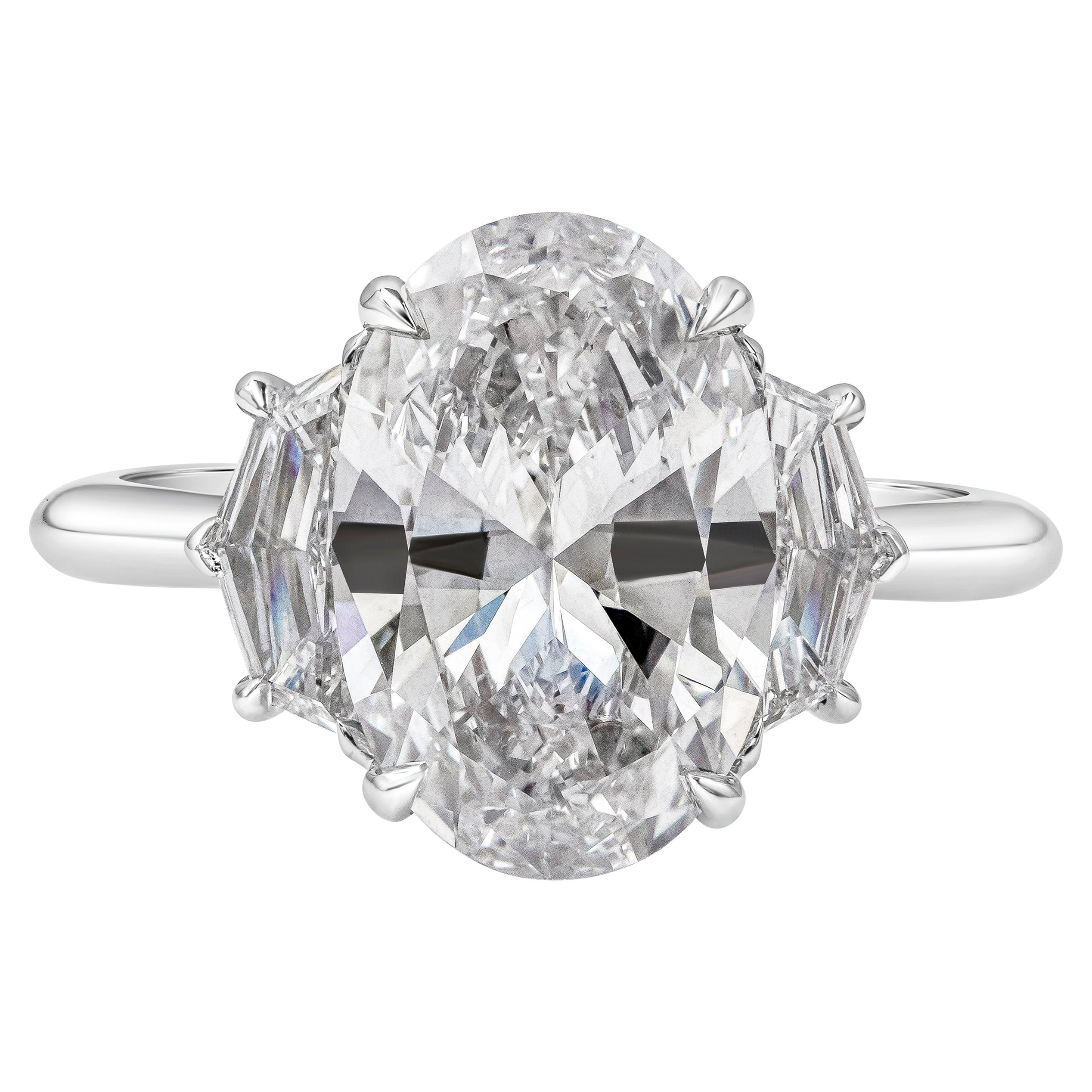 GIA Certified 4.02 Carat Oval Cut Diamond Three-Stone Engagement Ring