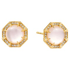 Syna Moon Quartz Octa Earrings with Champagne Diamonds