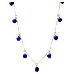 Syna Lapis Lazuli Yellow Gold Bead Necklace