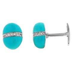 Andreoli 0.45 Carat Diamond Turquoise 18 Karat White Gold Cufflinks