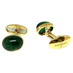 Andreoli 9.85 Carat Emerald 18 Karat Yellow Gold Cufflinks