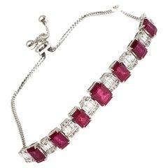 Andreoli 5.52 Carat Ruby Diamond 18 Karat White Gold Bracelet