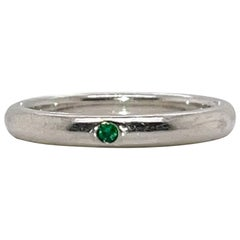 Tiffany & Co. Elsa Peretti Emerald & Sterling Silver Stacking Band Ring