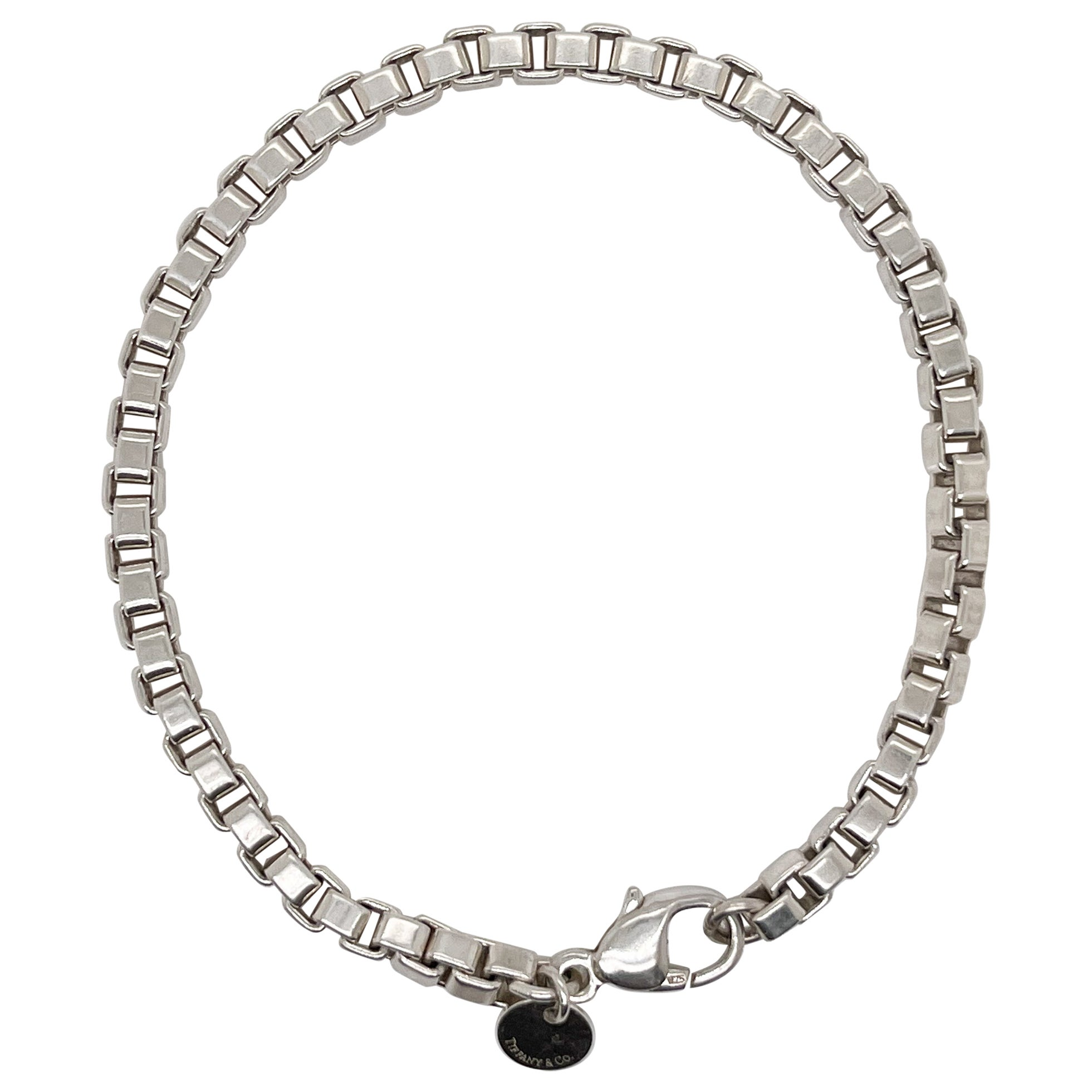 Vintage Tiffany & Co. Venetian Box Link Sterling Silver Bracelet