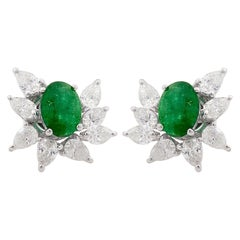 18 Karat Gold Diamond Emerald Cluster Stud Earrings