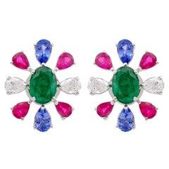 Tanzanite Ruby Emerald Diamond 18 Karat White Gold Stud Earrings
