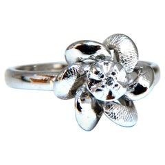 .02ct Natural Diamond Circular Bow Clover Ring 14kt