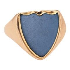 Antique Edwardian Shield Ring c1913 15k Gold Agate Signet 9 Men's Fine Jewelry