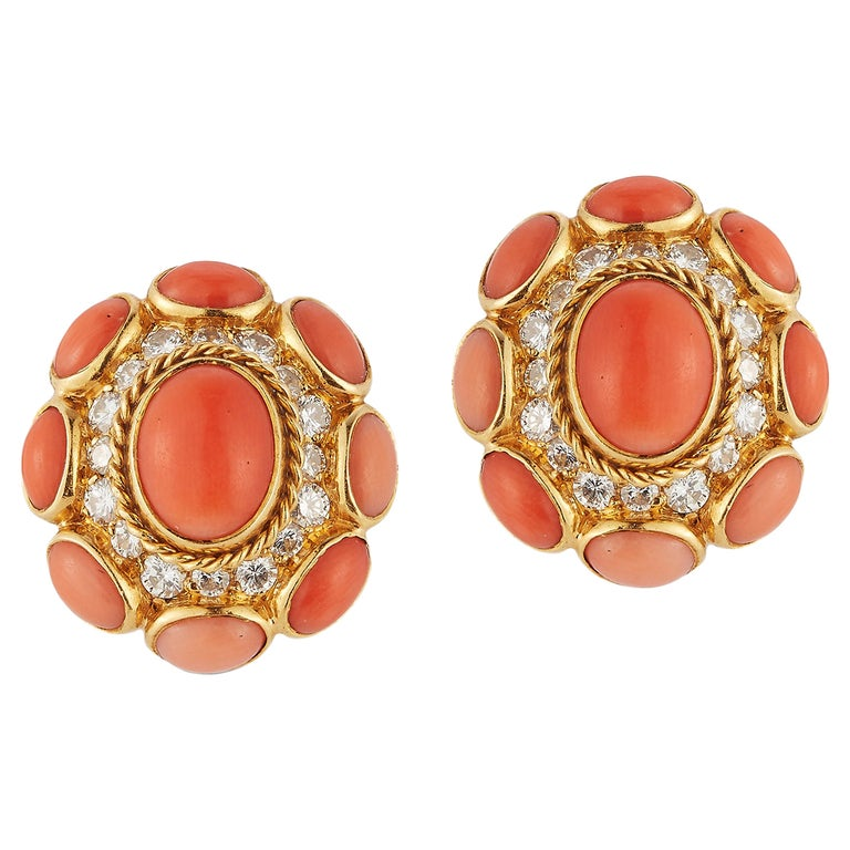 Bvlgari Coral & Diamond Earrings For Sale