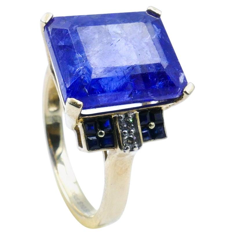 18ct Yellow Gold Tanzanite, Sapphire & Diamond Ring