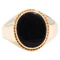 Oval Black Onyx 9 Carat Yellow Gold Mens Vintage Dome Signet Ring