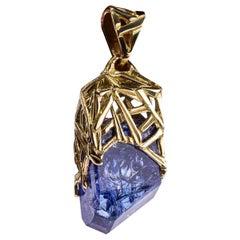 Tanzanite Yellow Gold Pendant Deep Blue Natural Tanzanian Raw Crystal Gem Unisex