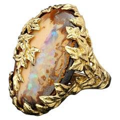 Boulder Opal Ivy Gold Ring Australian Gemstone Peach Color Statement Jewelry
