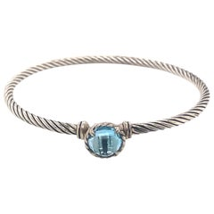 David Yurman Chatelaine Cable Bracelet with Blue Topaz in Sterling Silver