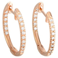 LB Exclusive 14K Rose Gold 0.25 Ct Diamond In-Out Hoop Earrings