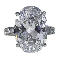 Exceptional I Flawless GIA Certified 8.87 Carat Oval Cut Solitaire Diamond Ring