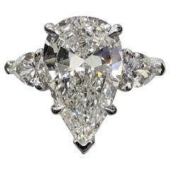 Internally Flawless GIA Certified 4 Carat Pear Cut Diamond Ring
