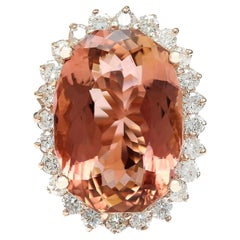16.60 Carat Morganite Diamond Ring 14 Karat Rose Gold