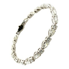 Classic Diamond Line Bracelet in 18 Karat White Gold