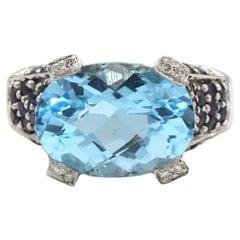 Le Vian 14 Karat White Gold Blue Topaz & Sapphire & Diamond Cocktail Ring