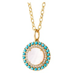 Syna Yellow Gold Mother of Pearl and Turquoise Pendant with Champagne Diamonds