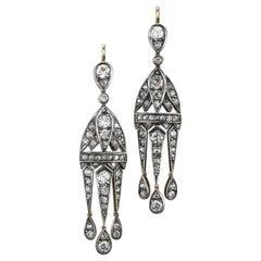 Old European Cut Diamond Floral Dart Pendant Earrings Signed Fred Leighton