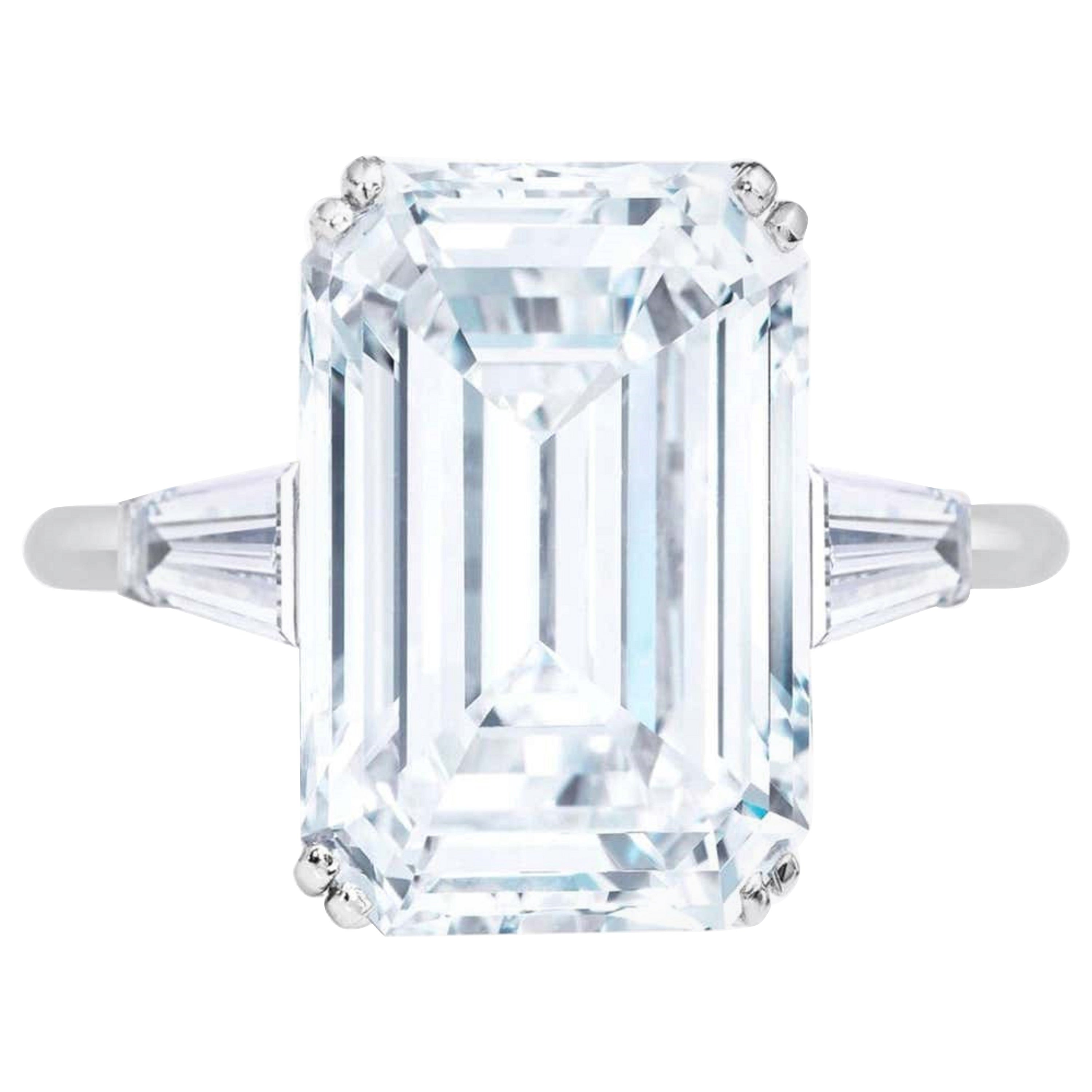 Exceptional Flawless Type 2A GIA Certified Emerald Cut Diamond Ring