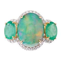 Fei Liu Opal Emerald Diamond 18 Karat Trilogy Ring