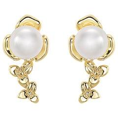 Effy 14 Karat Yellow Gold Diamond & Pearl Earrings