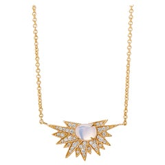 Syna Yellow Gold Cosmic Moon Quartz Necklace with Champagne Diamonds